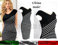 Abito tubino vintage 50' bianco nero zig zag incrociato strisce elegante vestito | eBay