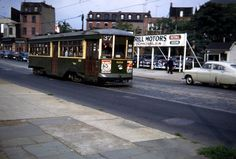 RT.37 ON WOODLAND AVE. AT 34TH. 1951.LINE BECAME A BUS LINE IN 1957. PHILA.