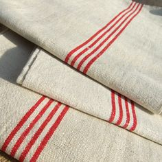 French tea towel vintage METIS Thick Linen & Cotton mix Red Stripes 7 available
