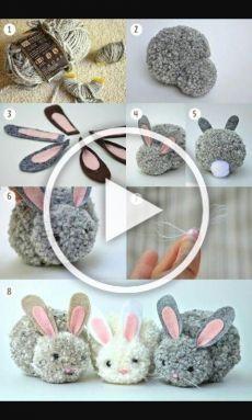 Diy Crafts Videos, Diy Crafts To Sell, Diy Crafts For Kids, Home Crafts, Diy Christmas Videos, Christmas Crafts, Bunny Crafts, Easter Crafts, Pom Pom Crafts