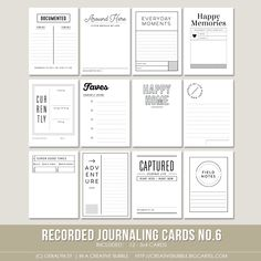 This set of twelve digital journaling cards is perfect for pocket page protectors, scrapbooking and mini-books. Included in this set are individual high resolution .png files and two printable .pdf pages.This set contains: 12 - 3x4* Journaling cards *actual size of cards is 2.95x4 to comfortably fit Project Life page protector pockets<i>Looking for the other sets in this series