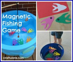 "Magnetic Fishing Game. I am doing this but instead of a fishing pole, ""flip the fish."" On the back of the fish are a set number of stars. Each child picks two stars and has to add up the stars to redeem a prize. By incorporating math- it's more than a game...it's learning!"