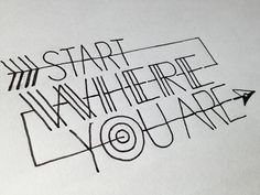 Start where you are.  http://betype.co/post/48318919056/start-where-you-are-handwritten-typography-4-7-13