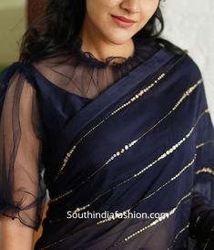 chiffon saree blouse designs 2019 Here are 25 latest Chiffon Saree Blouse Designs that are trendy and stylish. These latest blouse designs are suitable for all occasions Netted Blouse Designs, Fancy Blouse Designs, Designs For Dresses, Bridal Blouse Designs, Blouse Neck Designs, Saree Jacket Designs Latest, Chiffon Saree, Satin Saree, Sari Design