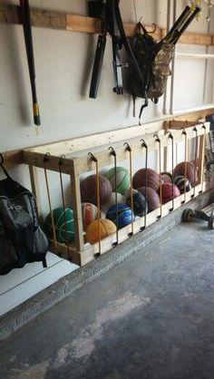 Garage ball storage. DIY Wood Kreg Organize