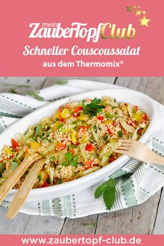 Schneller Couscoussalat aus dem Thermomix® This salad with couscous and vegetables is the perfect quick and easy side dish for any barbecue! A delicious summer salad with a recipe for the Thermomix® – that's how Couscous tastes for children! Summer Salad Recipes, Fruit Recipes, Summer Salads, Vegetable Recipes, Fancy Dinner Recipes, Couscous Salad, Barbacoa, Side Dishes Easy, Arugula