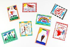 Create cute, colorful refrigerator magnets that feature a child's artwork. This makes a wonderful gift for grandparents or other special people. Easy Preschool Crafts, Preschool Art Activities, Recycled Crafts Kids, Paper Plate Crafts For Kids, Christmas Crafts For Toddlers, Kindergarten Art Projects, Valentine's Day Crafts For Kids, Thanksgiving Crafts For Kids, Halloween Crafts For Kids