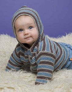 This striped knit hoodie made with Cotton-Ease is great for outdoor playtime in the sandbox.