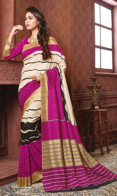 #Magenta and #Beige #Bhagalpuri #Printed #Saree, #Printed #Bhagalpuri #Silk #Sarees Collection, http://www.ishimaya.com/sarees/all-collections.html – Ishimaya