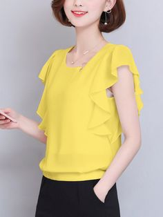 Asymmetric Neck Flounce Plain Chiffon Blouse is hot sold on ByChicStyle, T-shirts & Blouses,Blouses with high quality guaranteed and fashion elements contained. Skirt Fashion, Fashion Outfits, Dressy Tops, Blouse Online, Blouse Styles, Long Tops, Blouses For Women, Shoulder Length, Size Chart