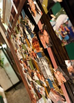 Table plan using different colour ribbon for each table and pictures of each guest