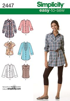 Womens shirt easy Sewing Pattern 2447 Simplicity Easy to Sew Collection