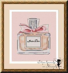 Cross Stitch Designs, Cross Stitch Patterns, Parfum Miss Dior, Stitch 2, Cross Stitching, Needlework, Crochet, Embroidery, Frame
