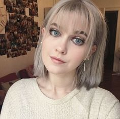 woman with a silver bob with wispy bangs BangsHair 357473289173389101 Bob Haircut With Bangs, Bob Hairstyles For Fine Hair, Layered Bob Hairstyles, Lob Haircut, Short Hair With Bangs, Hairstyles Haircuts, Short Hair Cuts, Wispy Bangs, Lob Bangs