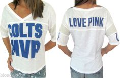 Victoria Secret PINK NFL Indianapolis Colts MVP Tee T-Shirt Slouchy NwT S M