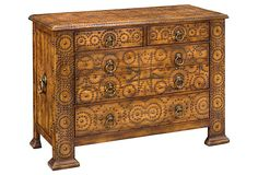 """Maximilian Chest, oak, inspired by a 16th century Spanish antique in the music room in the Biltmore House.  55""""W x 24""""D x 39""""H  2399 - orig. 5675"""
