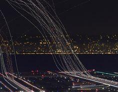 long exposure plane landings and takeoffs