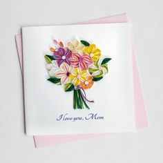 Outside Copy: I Love You, Mom Inside Copy: Blank Inside Size: x Description: All of our cards come with a coordinating envelope, and a short history of quilling on the back of the card. Our square cards require extra postage. Paper Quilling Cards, Quilling Art, I Love You Mom, My Love, Quilling Flowers, Quilling Techniques, Quilling Patterns, Square Card, Mothers Day Cards