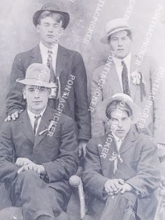 """Young Men in Suits Ties Hats Glass Portrait Photo Negative 1890-1918 4x5"""" #86"""