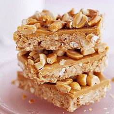 Butterscotch Pretzel Bars  This sweet-salty dessert goes together quickly with a no-bake bottom and a topping of butterscotch pieces and whipping cream heated on the stove.