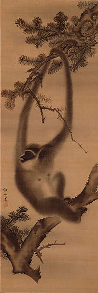 MORI Sosen (1747-1821), Japan 森狙仙 Japanese Drawings, Japanese Artwork, Japanese Painting, Japanese Prints, Japanese Design, Chinese Painting, Asian Monkey, Sumi E Painting, Japanese Illustration