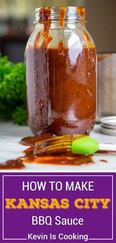 My Kansas City Style BBQ Sauce stays true to the traditional and is on the sweet side using a brown sugar base, but is balanced with chili powder and black pepper that gets simmered with molasses, yellow mustard and other warm spices. Used on Kansas City Style Ribs that are typically characterized by the thick, sticky sauce brushed on in the last 30 minutes of cooking. Best Sauce Recipe, Sauce Recipes, Syrup Recipes, Meat Recipes, Recipies, Vegan Kitchen, Kitchen Recipes, Christmas Recipes Dinner Main Courses, Smoking Recipes