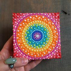 Rainbow Mandala Dot Painting. Dot Art. Dotillism. Hand painted chakra inspired Mandala painting.