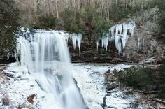 Frozen falls is a winter phenomenon not to be missed in parts of the Smoky Mountains!