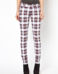 Tripp NYC Plaid Skinny Jeans