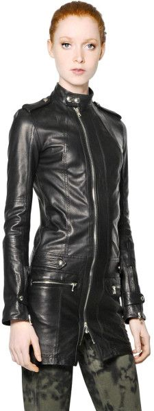 yasssssss! Love this: Nappa Leather Long Jacket @Lyst