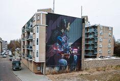 """Hit the Lights"" mural collaboration by Sebas Velasco & Telmo Miel in Rotterdam"
