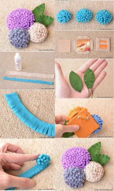 Bookmarks from felt flowers – ArtofitFelt brooch in shape of a peony (tutorial)Easy DIY Felt Crafts, Felt Crafts Patterns and Felt Crafts Felt Diy, Felt Crafts, Crafts To Make, Fabric Crafts, Easy Crafts, Paper Crafts, Kid Crafts, Paper Flowers Diy, Handmade Flowers