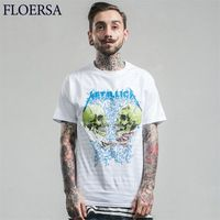 FLOERSA New Fashion Metallica Men T Shirt Short Sleeve O-Neck T Shirt Homme Summer High Quality Man's T Shirt Camisetas#C459-39