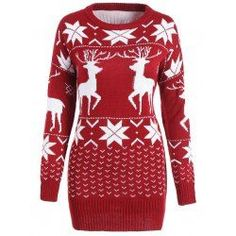 Maple Leaf Deer Tunic Christmas Sweater - Wine Red One Size Spandex Round Neck