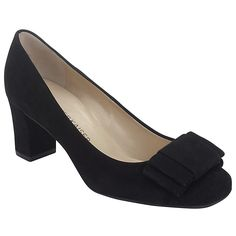 Buy Peter Kaiser Pallau Suede Bow Block Heel Court Shoes, Black, 4 Online at johnlewis.com