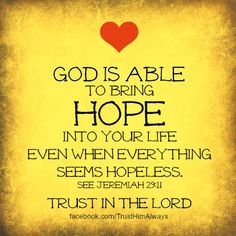 God is Able . . .  Jeremiah 29:11