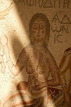 """mosaic of Aphrodite enthroned - detail from """"the Hippolytus Hall"""" at Madaba, circa 4th c. AD, Roman period"""