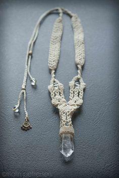 Macrame necklace with quartz pendant.  www.malinpettersen.com