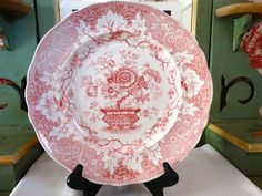 "Samuel Alcock Antique ""Japanese"" pattern Plate in Pink Transferware Circa 1828-1859. Made in England by HomecomingDiningRoom on Etsy"