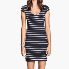 H&M Striped Bodycon Mini Dress Mint condition! H&M Dresses Mini