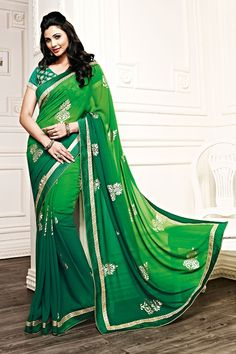 Green Color Casual Printed Party Wear Sarees From Easy Sarees.