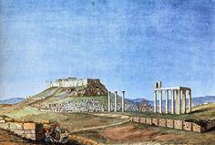 """Το Ολυμπιείο από τον """"Ναό στην Όχθη του Ιλισσού"""". 1834. Acropolis, Athens Greece, Ancient Greek, Monument Valley, History, Nature, Painting, Travel, Vintage"""