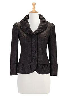 I <3 this Ruffled shawl collar wool blend jacket from eShakti