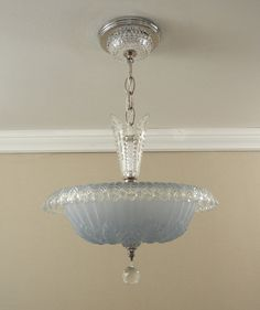 Vintage Chandelier Antique Art Deco by VintageGlassLights - This light is very pretty, just don't like the stem. Art Deco Chandelier, Art Deco Lighting, Vintage Chandelier, Vintage Lamps, Cool Lighting, Chandelier Lighting, Lighting Ideas, Crystal Chandeliers, Antique Lamps