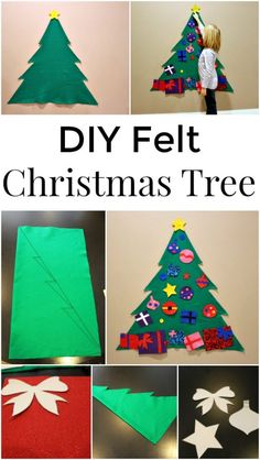 Diy felt christmas tree - a great holiday craft for kids crafts and p Diy Felt Christmas Tree, Christmas Trees For Kids, Felt Christmas Decorations, Holiday Crafts For Kids, Preschool Christmas, Noel Christmas, Christmas Activities, Xmas Crafts, Christmas Projects