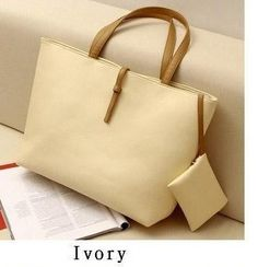 Promotion! HOT! vintage simple PU leather bag handbag Candy2 Ivory