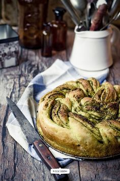 rolled bread with pesto
