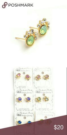 Stone and Pearl Earrings Gorgeous stud earrings with faux gems and pearls. Gold tone with pink, peach, white, blue, purple, or green gemstone. Brand new. boutique Jewelry Earrings