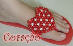 Chinelo decorado - Manta de coração de pérolas