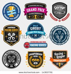 Set of car racing emblems and championship badges by Mike McDonald, via ShutterStock